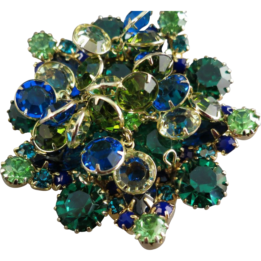 VINTAGE Unsigned Beauty Brooch Blues greens and Gold.  Dangling Sets