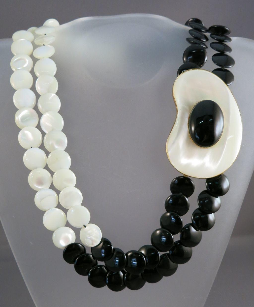 VINTAGE Designer Necklace A Study in Mother of Pearl