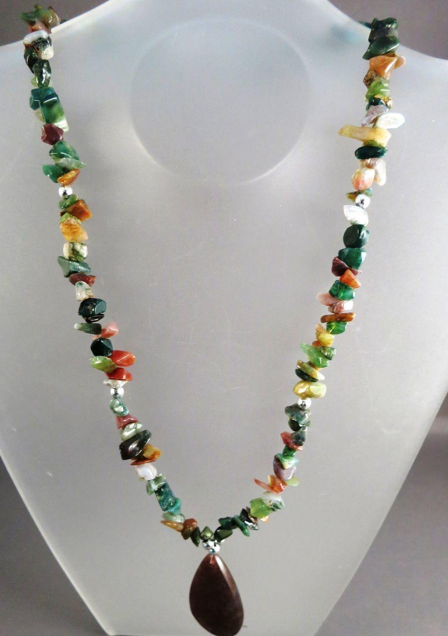 VINTAGE Gem Stone Nugget Necklace Mostly Jade