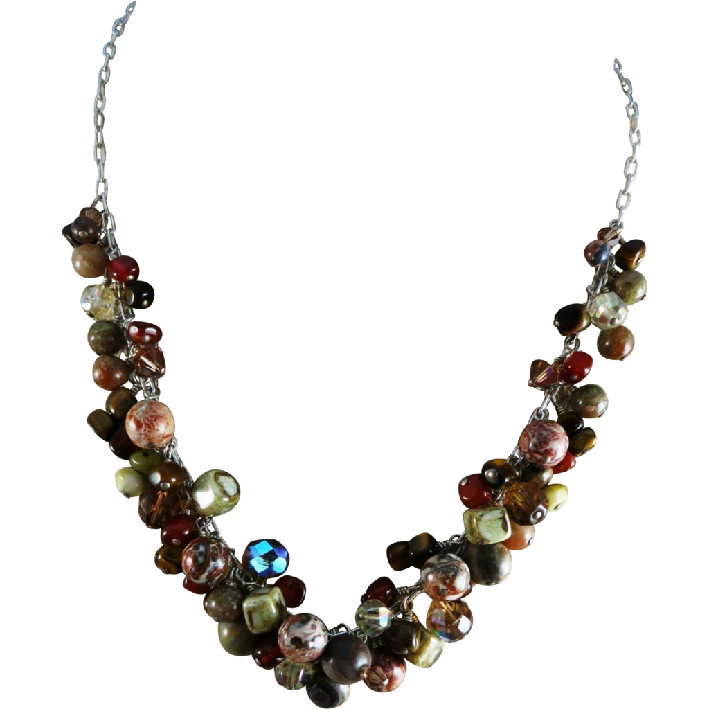 VINTAGE Gem Stone and Crystal  Necklace  Colorful