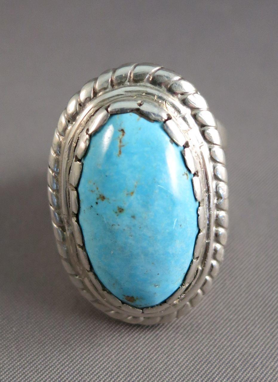 SLEEPING BEAUTY Turquoise Massive Man Sterling Ring  Snug Size 11