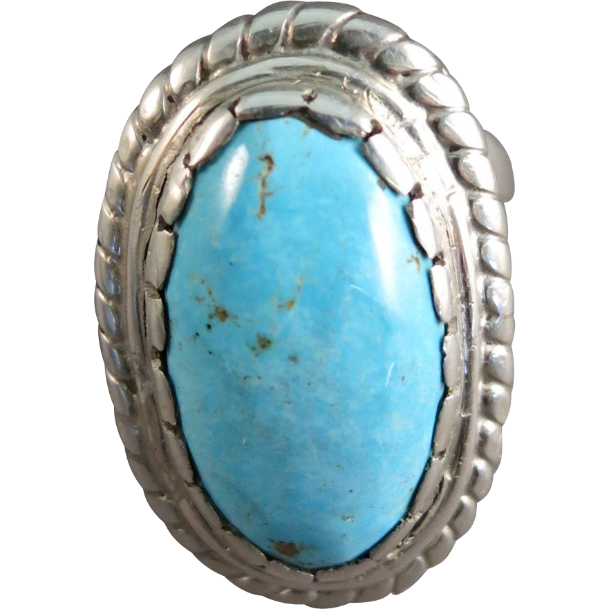SLEEPING BEAUTY Turquoise Massive Man Sterling Ring  Snug Size 11