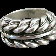 VINTAGE Mans Large Size 15  Sterling Twist Ring