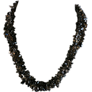 VINTAGE 17 Inch  Three Strands Torsade of Apache Tears  Necklace Beautiful