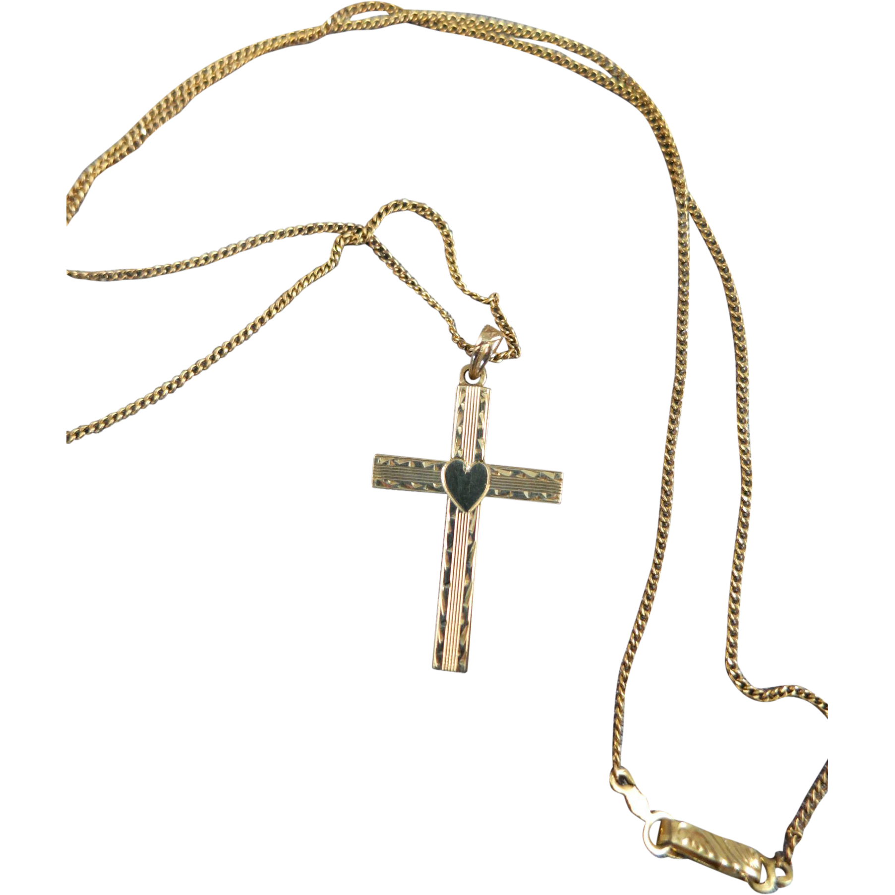 "VINTAGE Gold Cross and Chain 10K  Great Gift  ""Sweet Sixteen"""