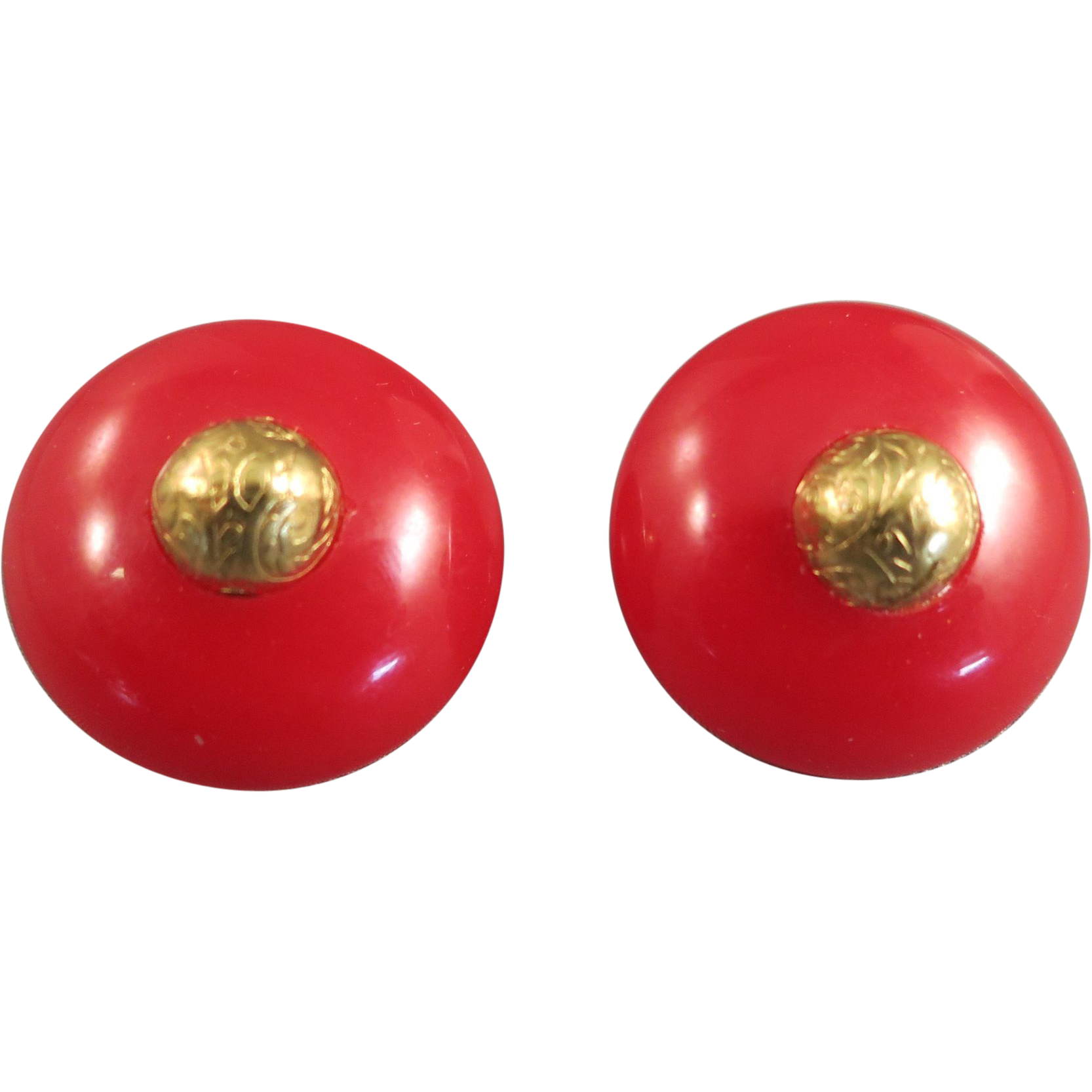 VINTAGE  Candy Apple Red Bakelite Pierced Earrings