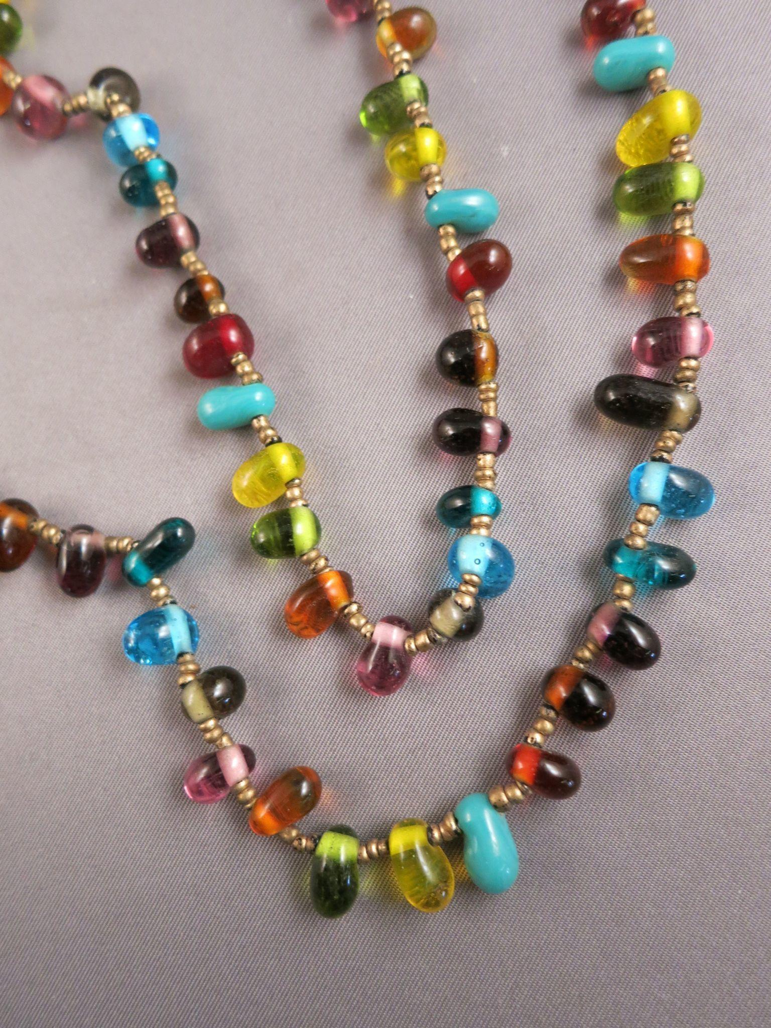 VINTAGE Strand of Glass Beads  Many Colored Necklace  41 inches long