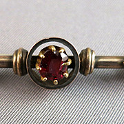 VICTORIAN  Bar Brooch Garnet Setting Beautiful