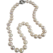 VINTAGE String of Freshwater Knotted Pearls 18 inches long  Large 8mm