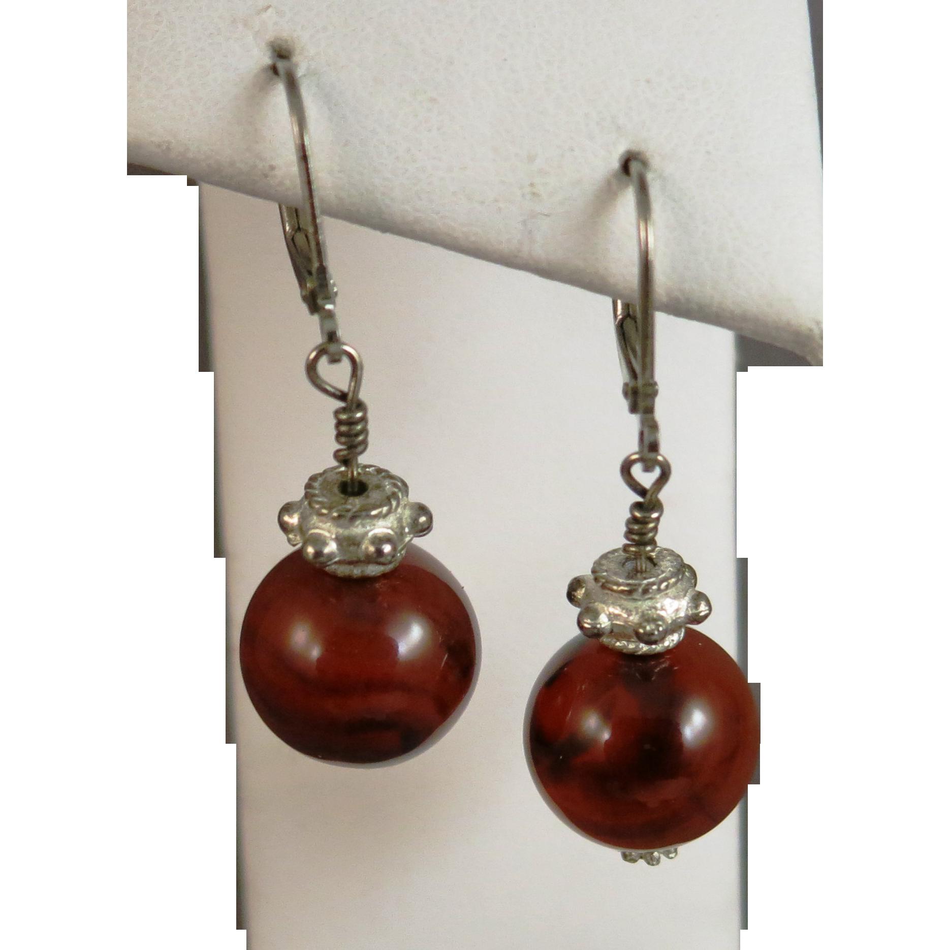 VINTAGE Carnelian Ball Earrings