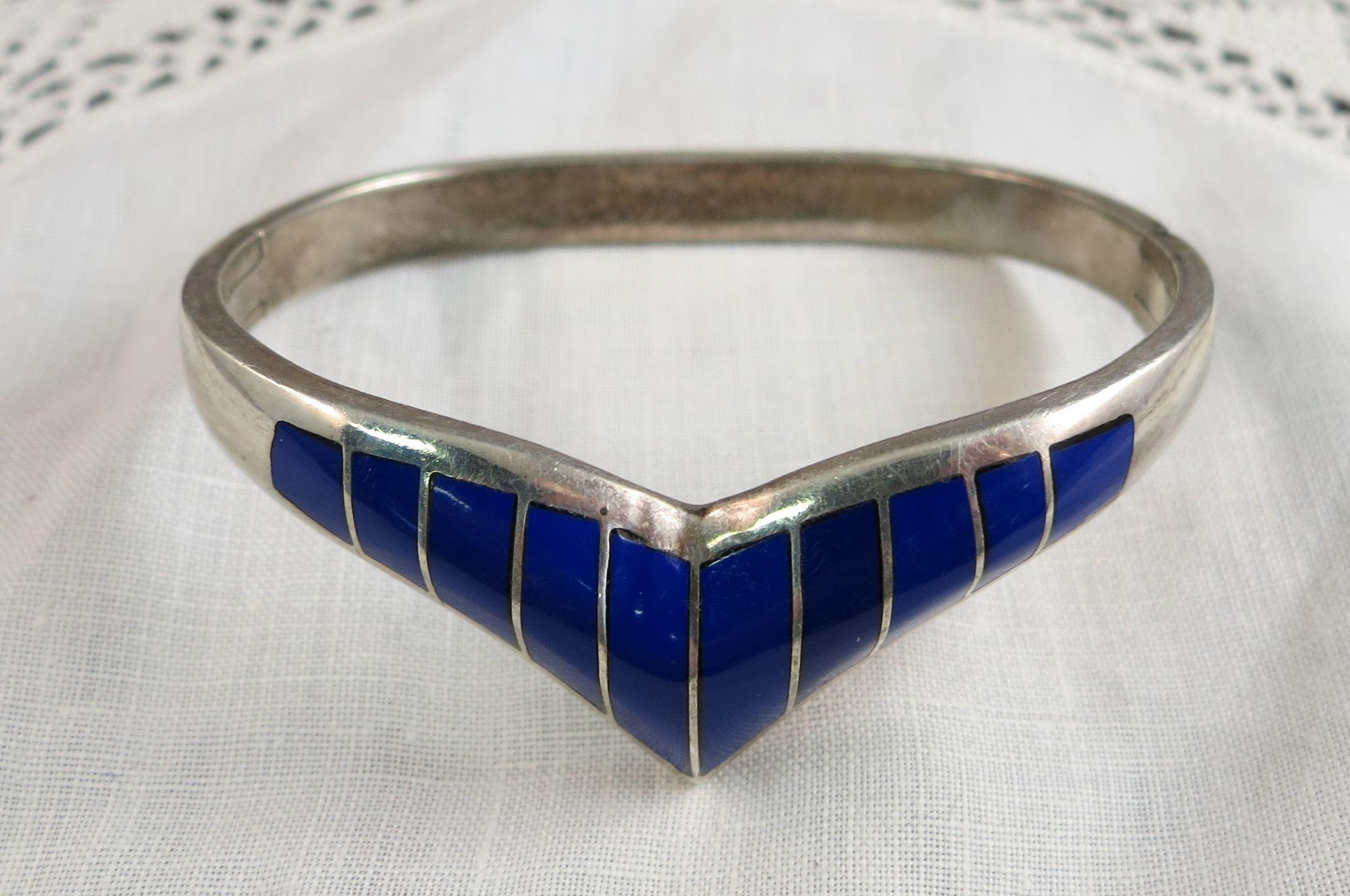 VINTAGE  Sterling Mexican Silver Heavy Bracelet with Lapis-lazuli Inserts