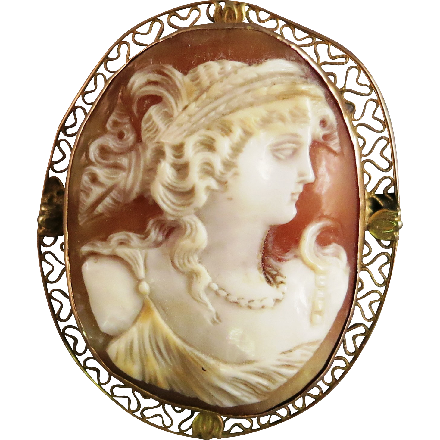 VINTAGE  Shell Hand Carved Italian Cameo 10K