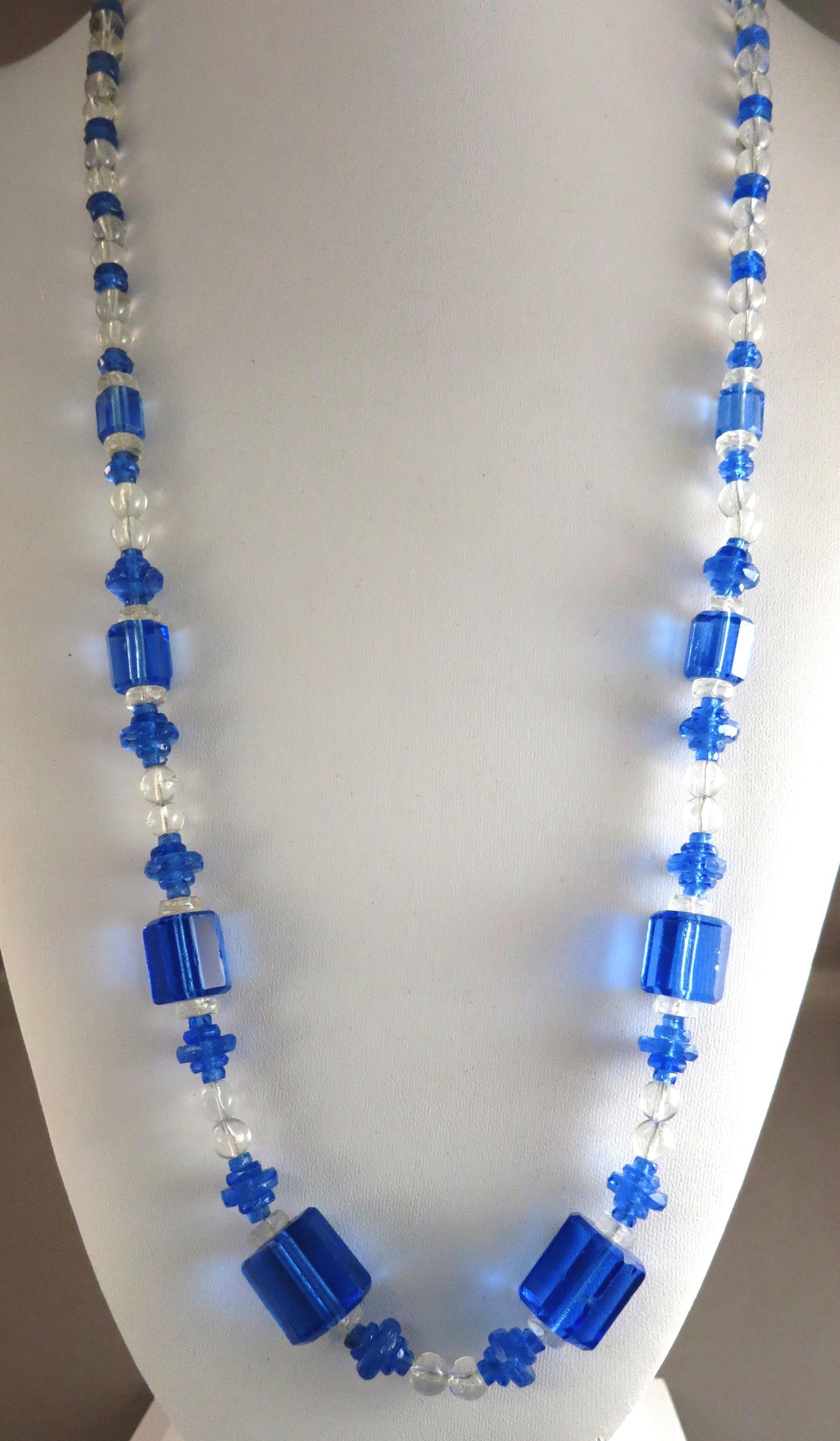 VINTAGE Blue Glass Endless Necklace  Beautiful Czech Glass