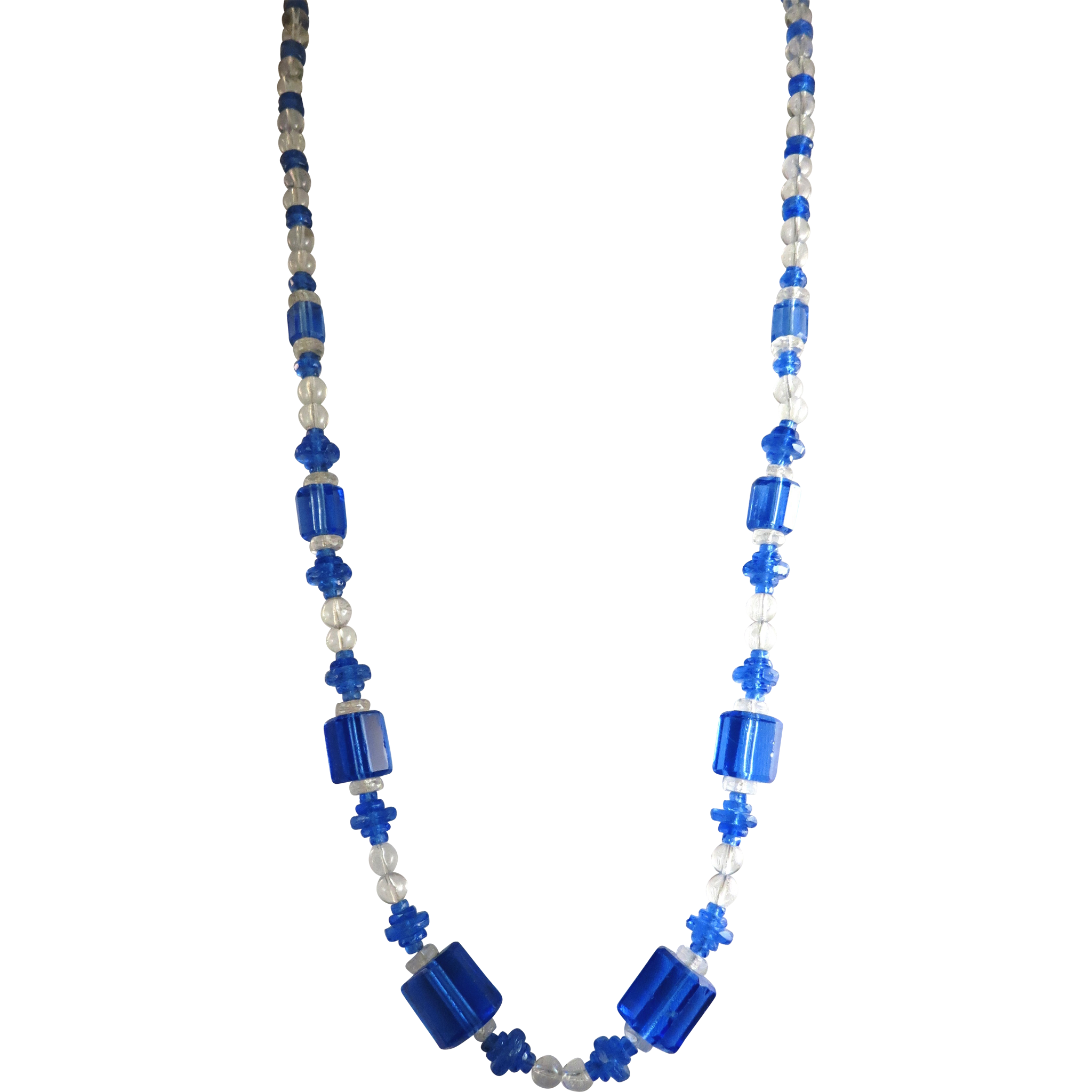 VINTAGE Blue Glass Endless Necklace  Beautiful Czech Glass