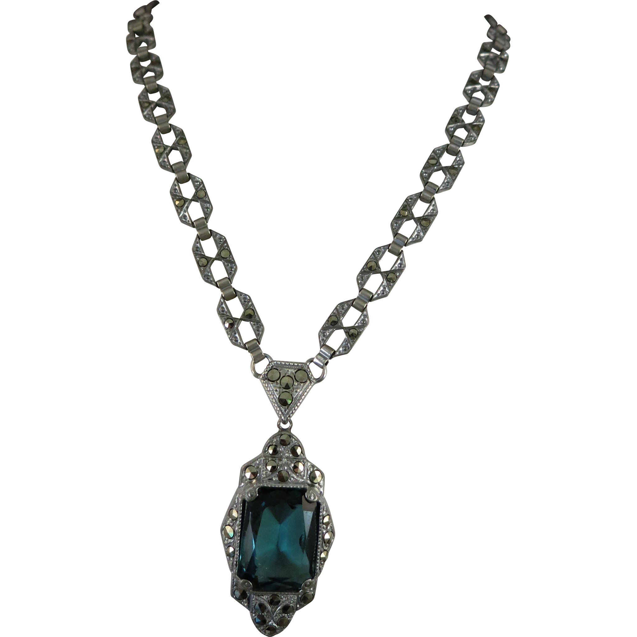 VINTAGE Mystery Necklace Lovely Blue-Green Stone Many Marcsites