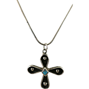 VINTAGE Sterling Hopi Cross with Sterling Chain