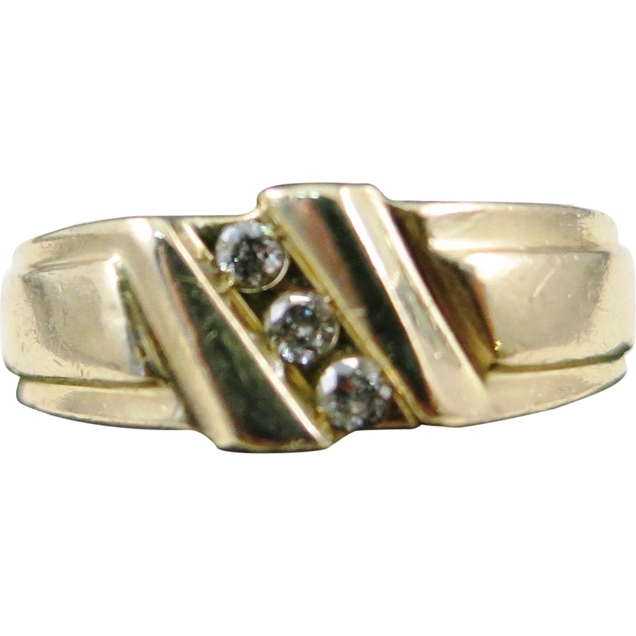 VINTAGE  14K Man's Yellow Gold Ring Three Diamonds Size 10 1/2
