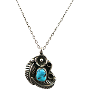 VINTAGE Sterling Navajo Pendant and Chain