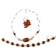 VINTAGE Three Pieces of Silver with Amber  Beautiful