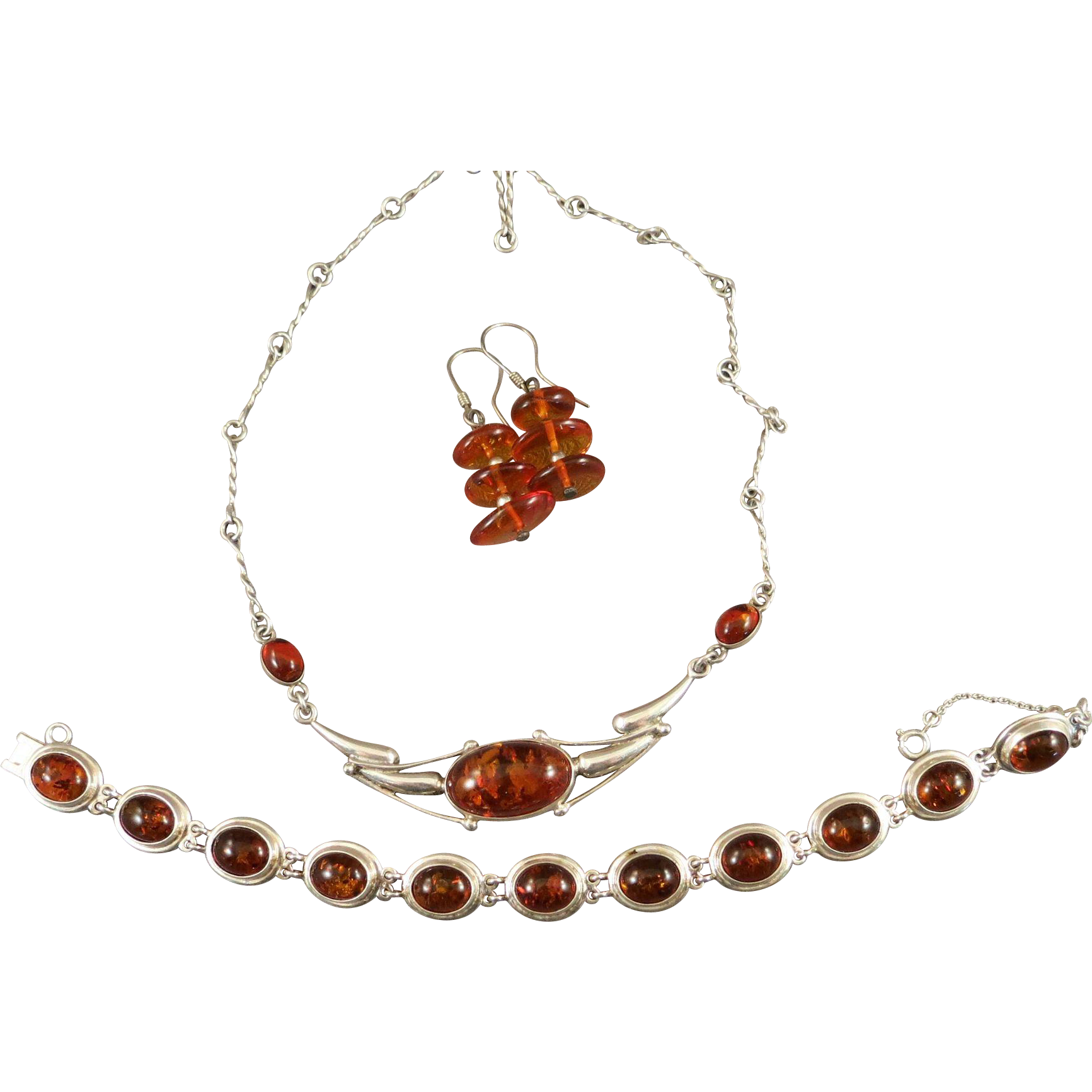 VINTAGE Three Pieces of Silver with Amber  Necklace, Bracelet, and Earring  Beautiful