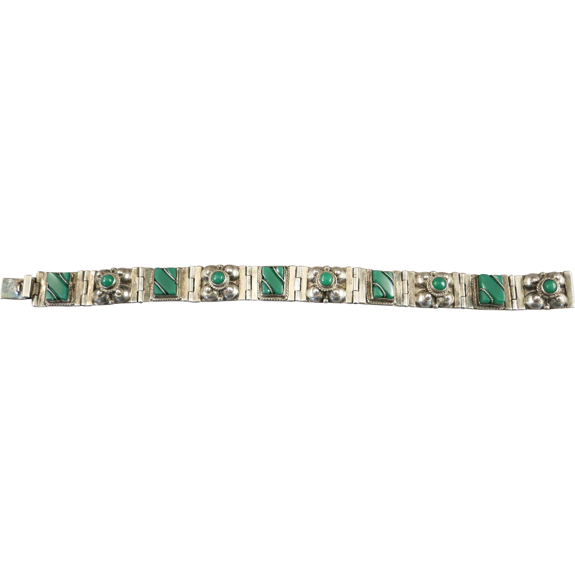 VINTAGE Sterling Green Onyx Mexican Bracelet