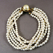 VINTAGE 6 Strand  Fresh-water Pearl Bracelet  Classic