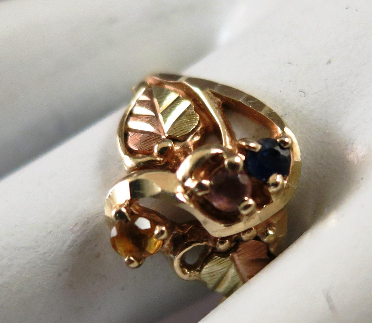 VINTAGE  Black Hills Gold 10K Ring with three Sets  Size 6 3/4