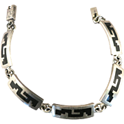 VINTAGE Mexican Sterling  Enameled Bracelet 7 1/2 Inches