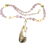 VINTAGE  Necklace with Rose Quartz and Mother of Pearl Gold Beads  32 Inches