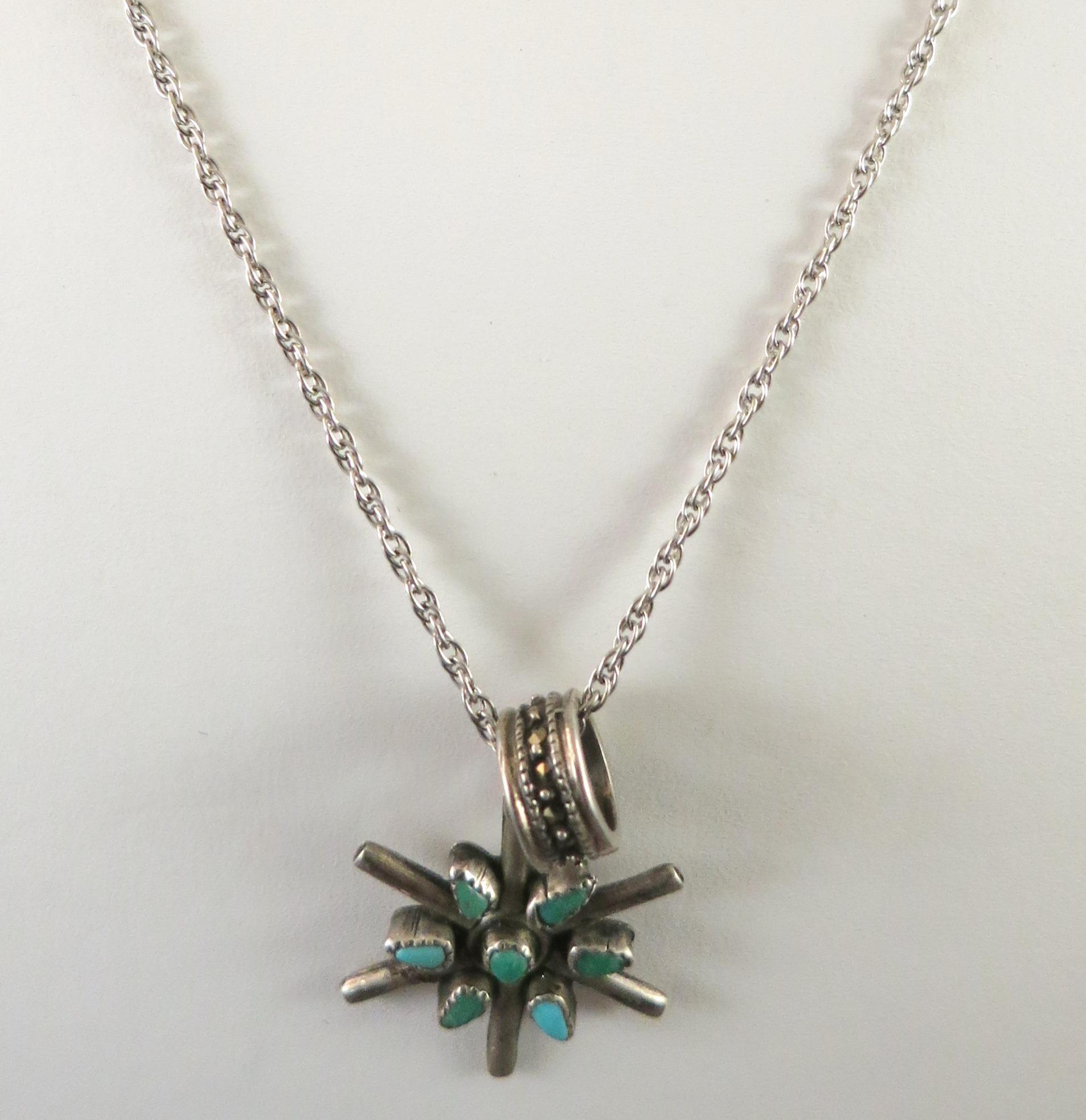 VINTAGE Sterling Chain with Two Charms Indian Star Cross and Marscite Circle Necklace