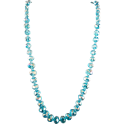 VINTAGE Ice Blue Glass Bead Necklace  18 Inches and 3 Inch Extender
