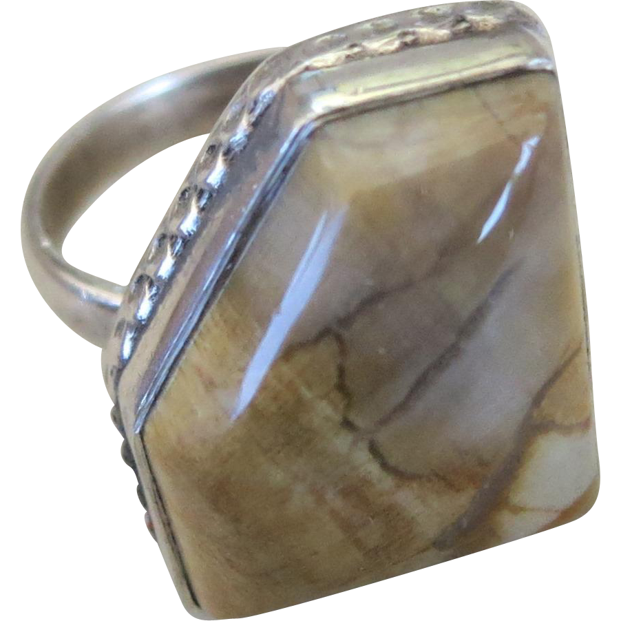 VINTAGE Silver-Smithing Class Samples from the 80's  Ring with Agate Stone  Size 8 3/4