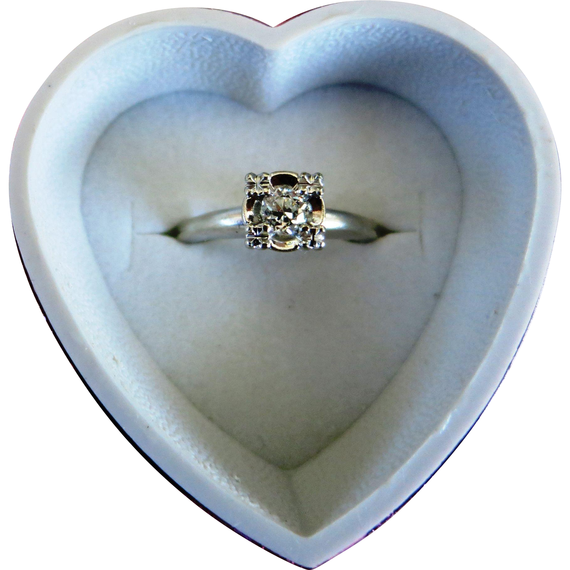 VINTAGE  50's 14K  White Gold  1/4 Ct Diamond  Engagement Ring   Size 5 1/4