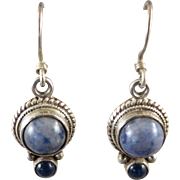 VINTAGE Sterling Blue Jean Colored Hook Earrings with dark Sapphire point.