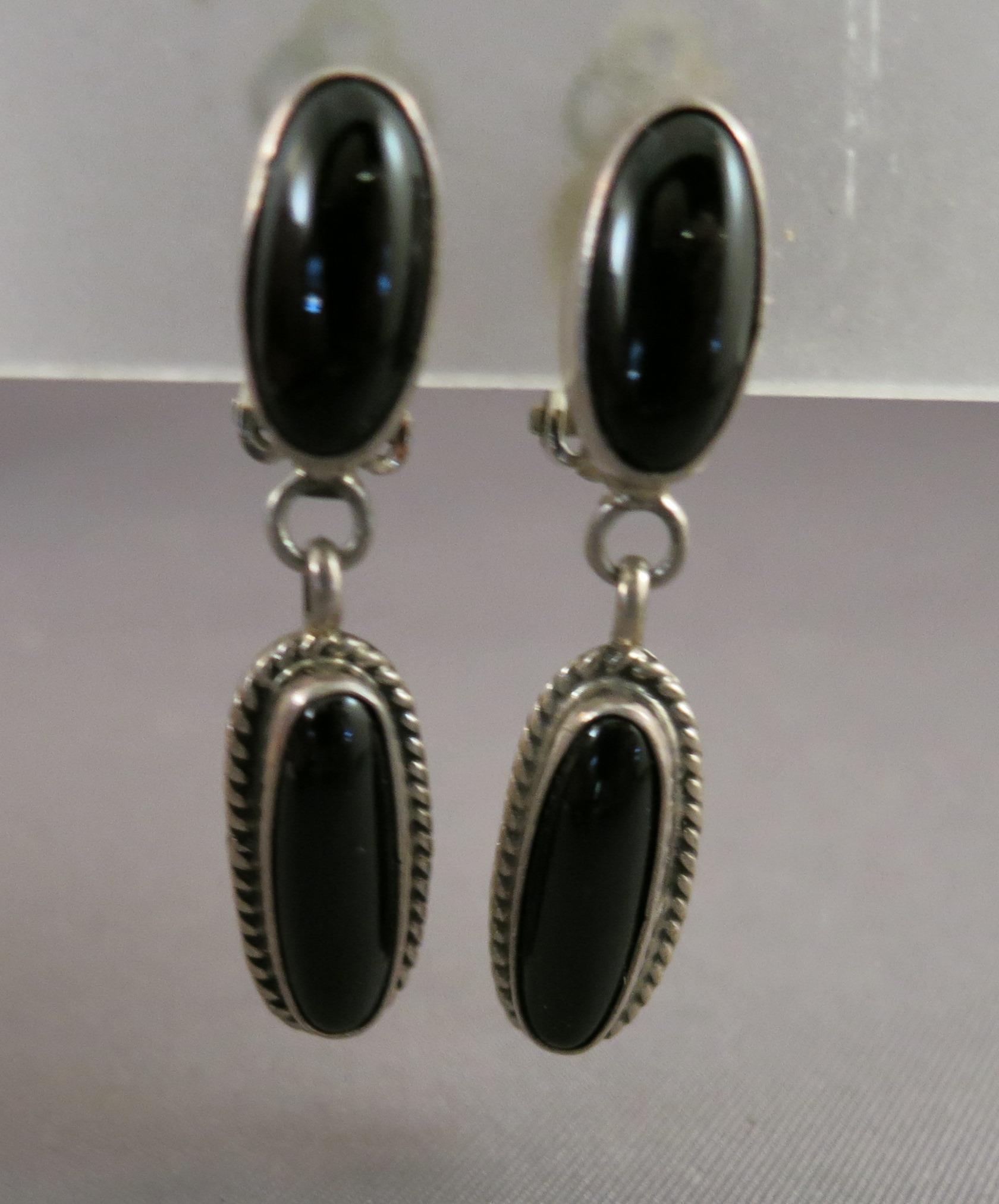 VINTAGE Sterling Clip Onyx Earrings