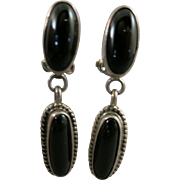 VINTAGE Sterling Clip Onyx Earrings