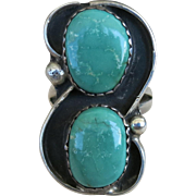 VINTAGE  Sterling Native American Ring with Turquoise in Shadow-boxes   Size 6 1/2