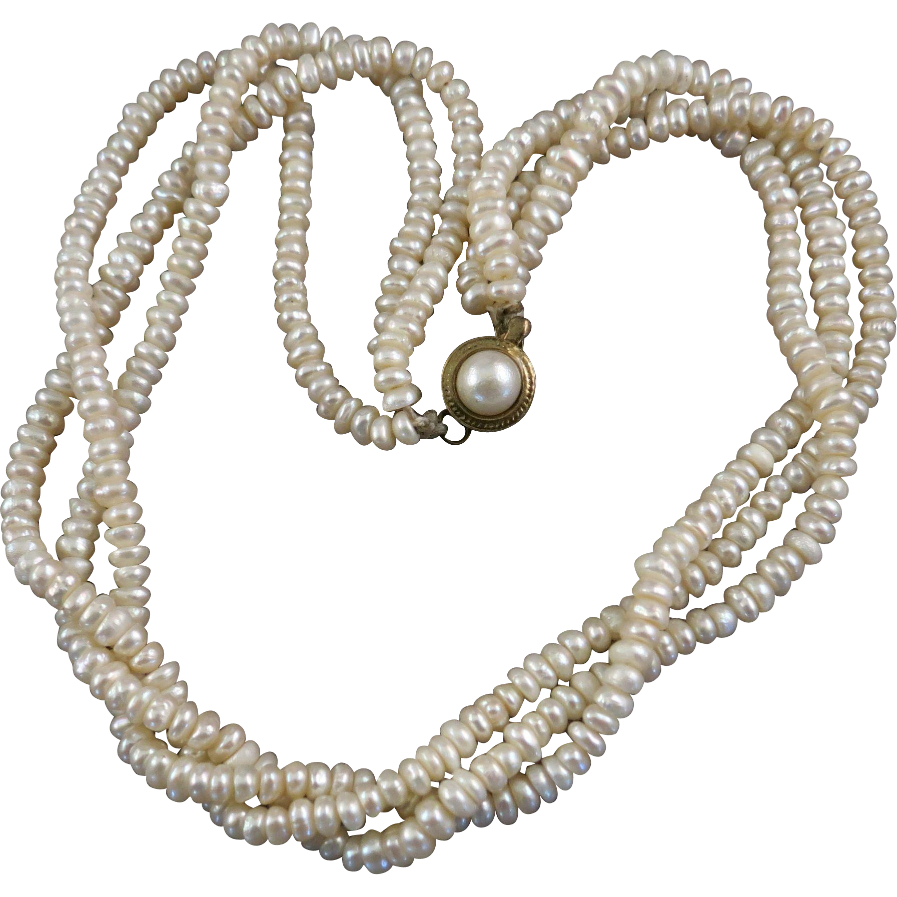 VINTAGE Three Strand Potato Shape Pearl Necklace  Twisted or Plain 16 inches