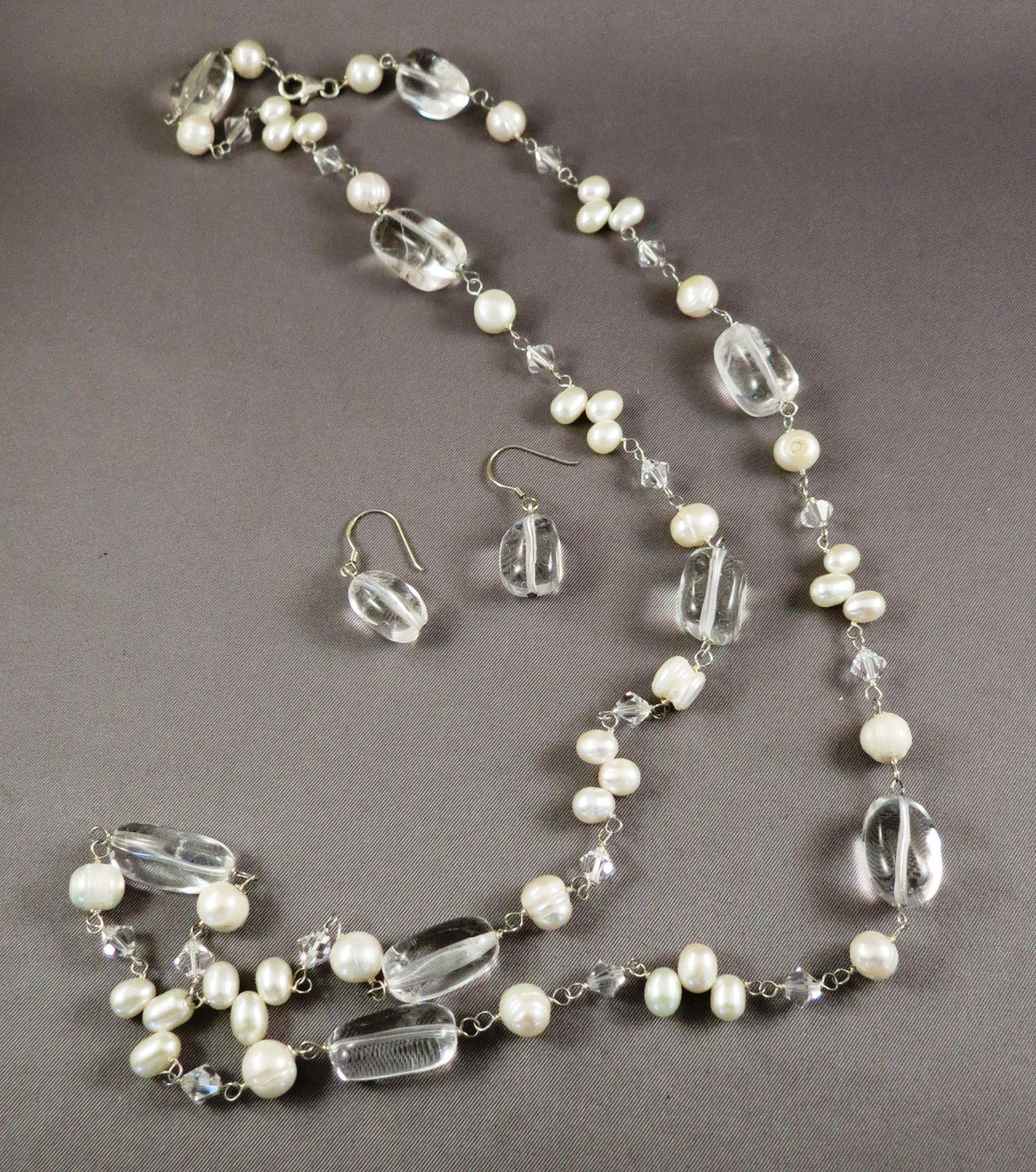 VINTAGE Fresh-water Pearls and Quartz Crystal Necklace and Earrings   32 Inches long
