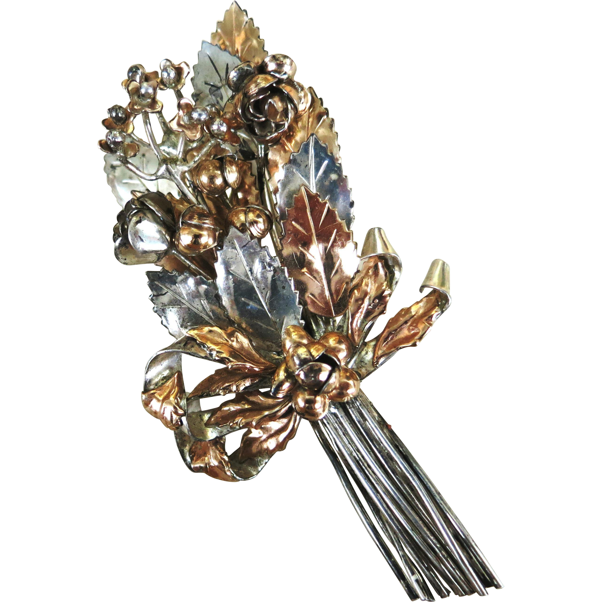 VINTAGE Hobe Sterling Flower Brooch 14K Gold Overlay  Large