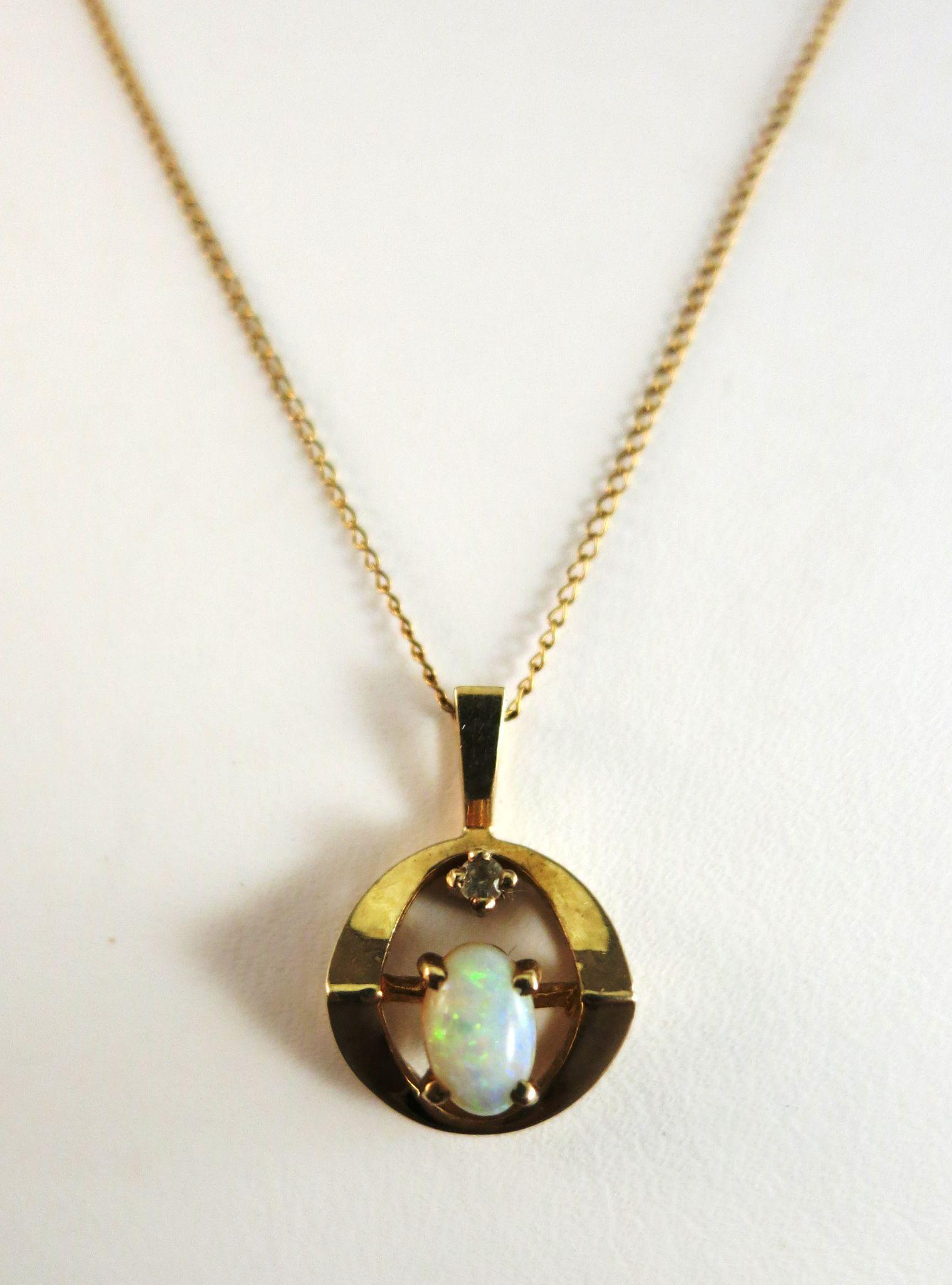 VINTAGE Natural Opal Pendant and 14K Gold Chain  18 inch Chain