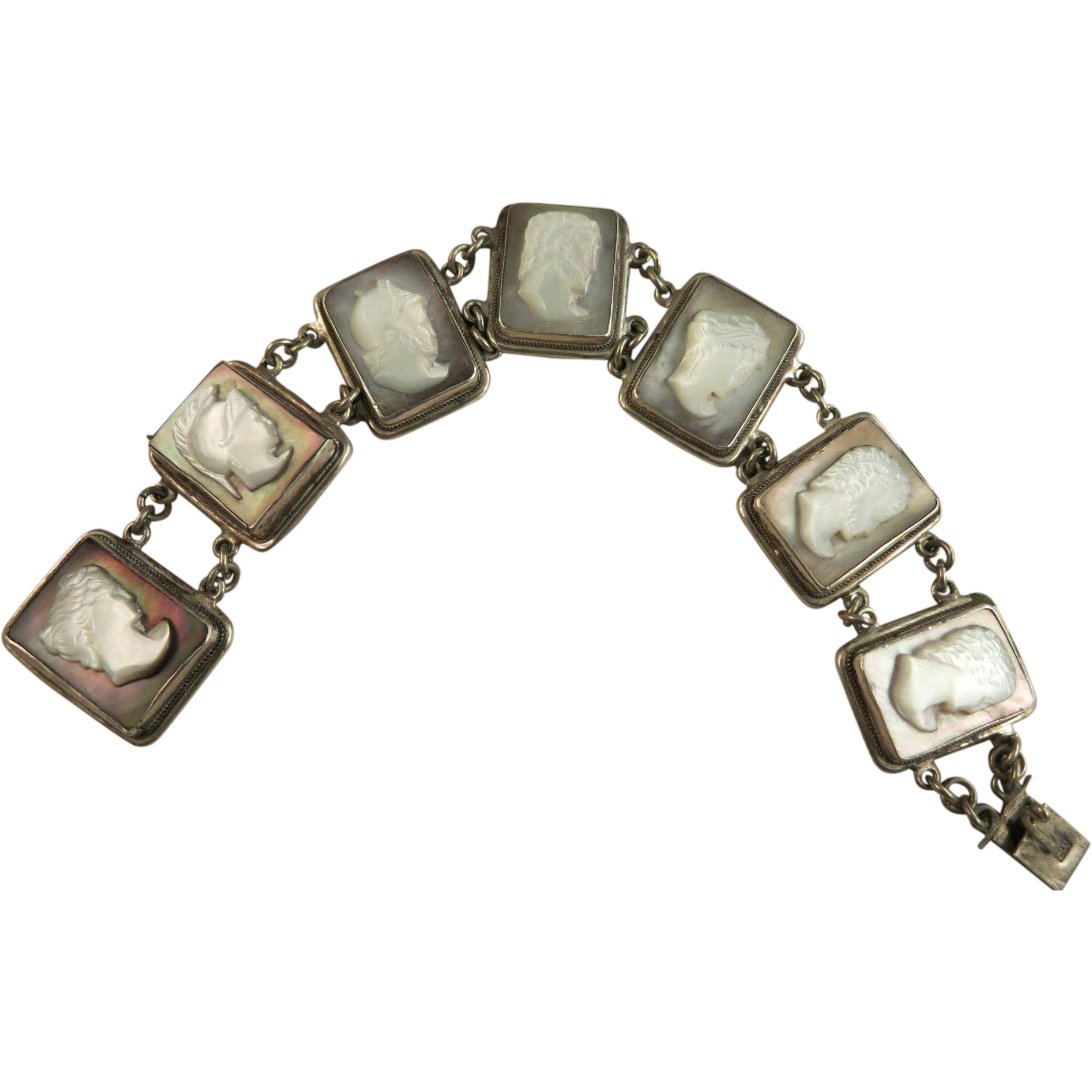 VINTAGE Mother of Pearl Cameo Bracelet 800 Silver  7 Inch  Italy