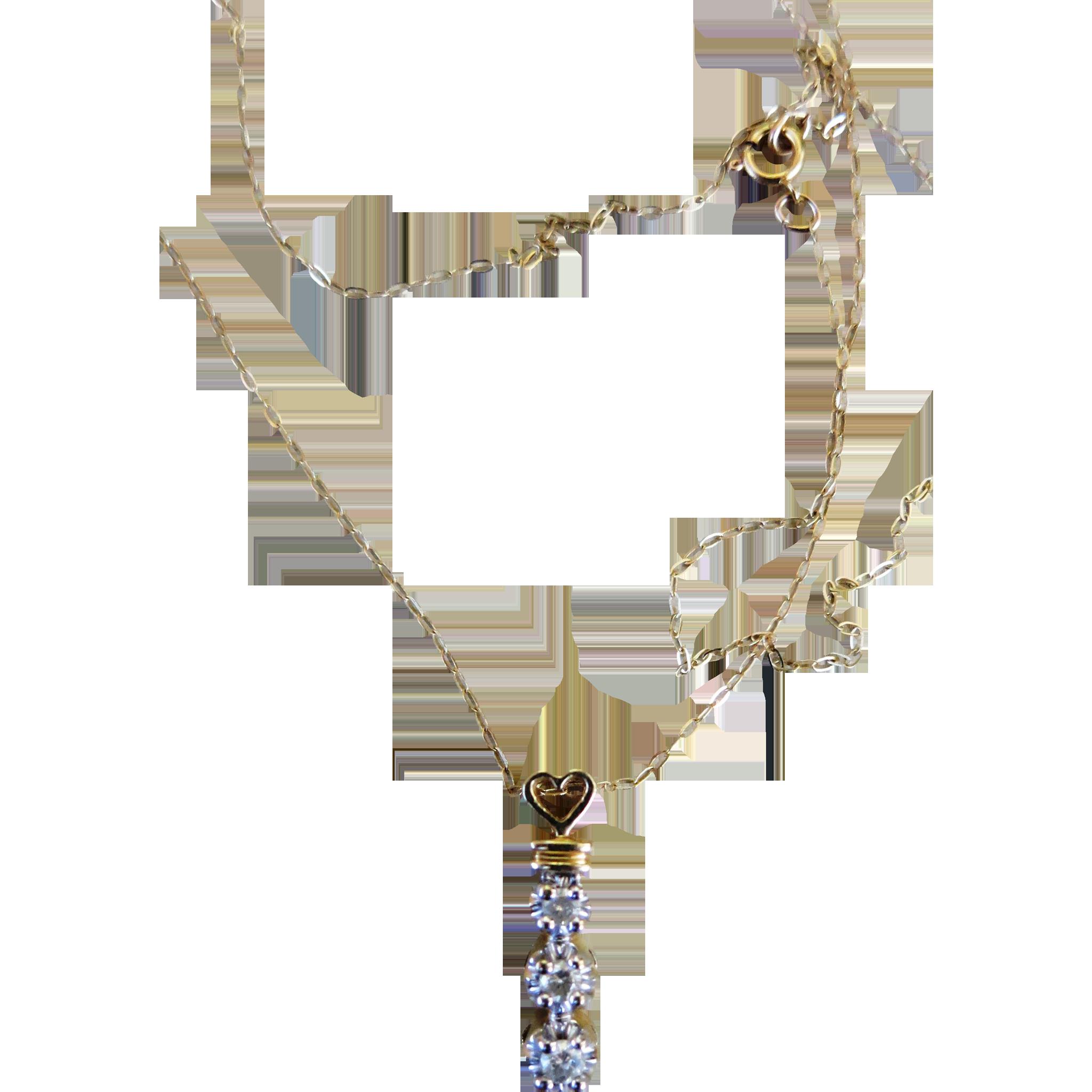 VINTAGE 10k Gold Chain and Pendant  Three Diamonds   17 Inch Chain
