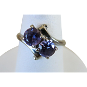 VINTAGE 10k White Gold Ring with Two Amethyst Sets  Size 5 1/4