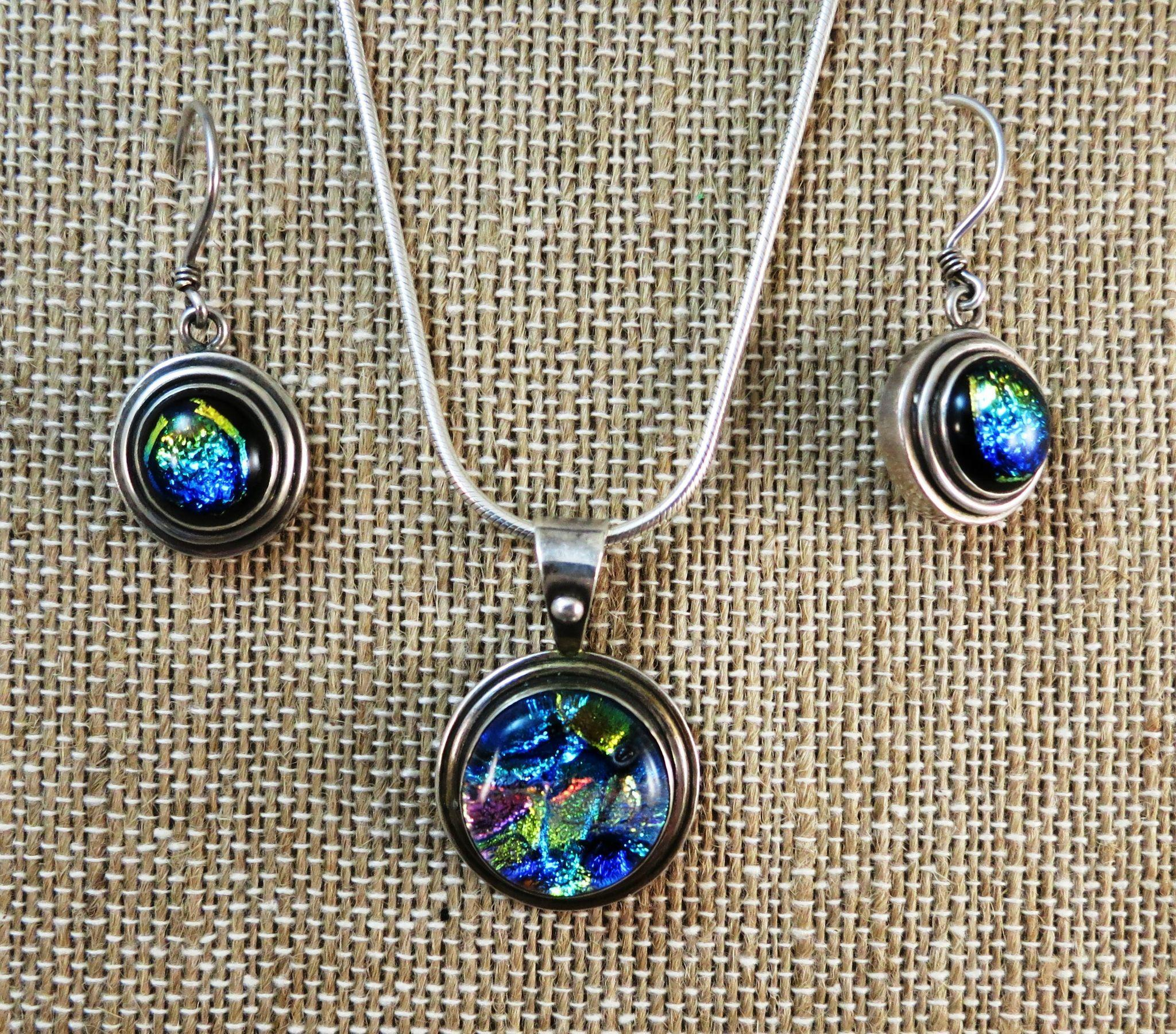 STERLING  Blue Necklace and Earrings