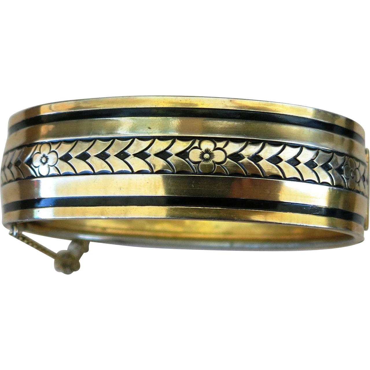 VINTAGE Gold Tone Metal Bangle Bracelet with Black Enamel
