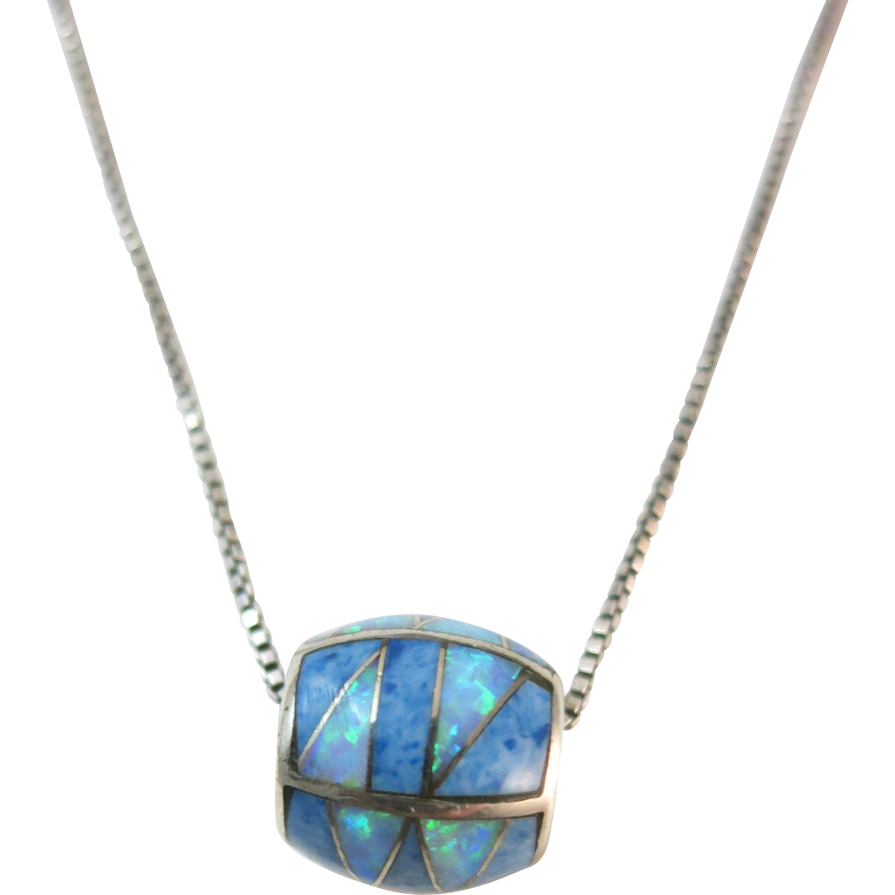VINTAGE Sterling Barrel and Chain Opal and Lapis   16 Inch Sterling Chain