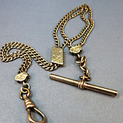 VINTAGE Double Chain Gold Tone Watch Chain with Slides.