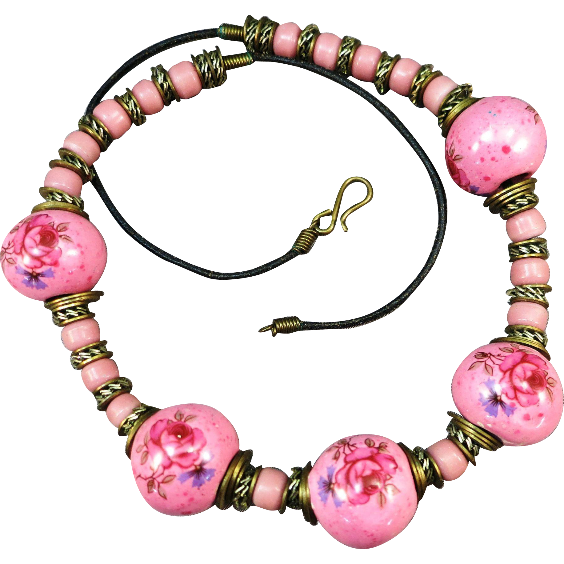 VINTAGE BoHo Rose Pottery Balls  on Leather Necklace  Beautiful   70's