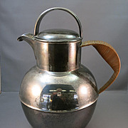 VINTAGE Silverplated Water Jug or Pot  Great Display Piece  Reed Handle